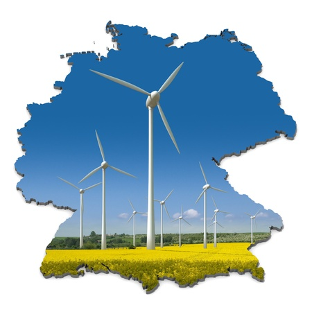 Wind turbines in a rapeseed field in an abstract map of Germany Stock Photo - 10726383