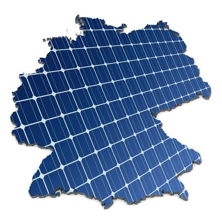 monocrystalline: mono-crystalline solar cells in an abstract map of Germany Stock Photo