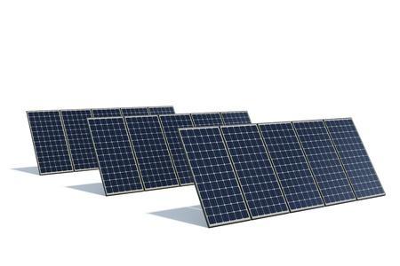 silicio: monocristalino de paneles solares sobre un fondo blanco