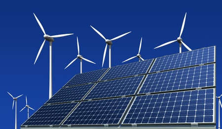 Mono-crystalline solar panels and wind turbines against a blue background photo