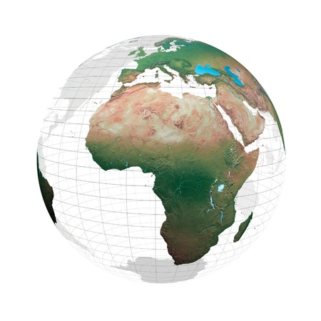 transparent system: Transparent globe with continents and grid system against a white background Stock Photo