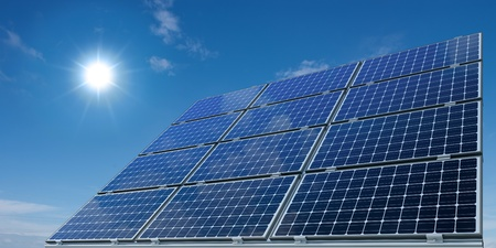 alternative energy source: Mono-crystalline solar panels against a sunny sky