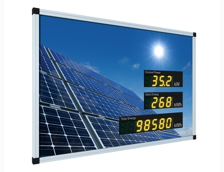 Solar power display - english Stock Photo