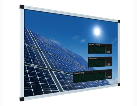 monocrystalline: Solar power display - german - LCD-digits without values, easily editable with clipping path