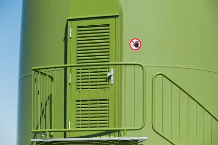 megawatts: Entrance of a wind turbine