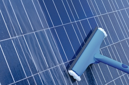 Cleaning of solar panels Stock Photo - 11412351