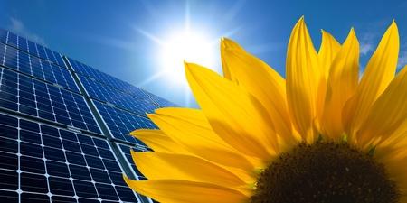 Sonnenkollektoren und Sonnenblumen an einem sonnigen Himmel