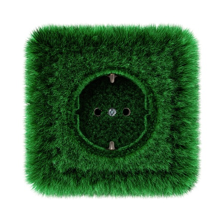 socket covered with green grass Stock Photo