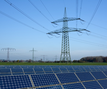 high voltage: Solar park and power line