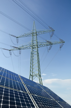 amperage: Solar panels and utility pole with wires