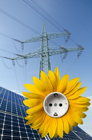 monocrystalline: Solar panels, sunflower with socket and utility pole Stock Photo