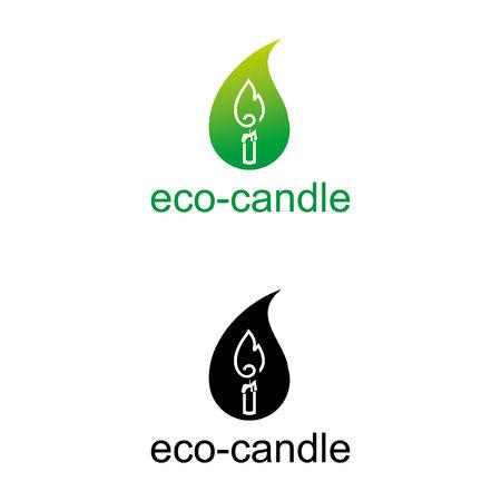 Eco candle icon set template design illustration.
