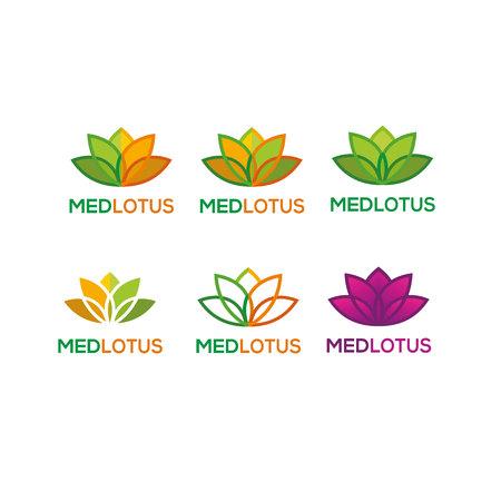 Lotus flower icon set template design illustration. Illustration