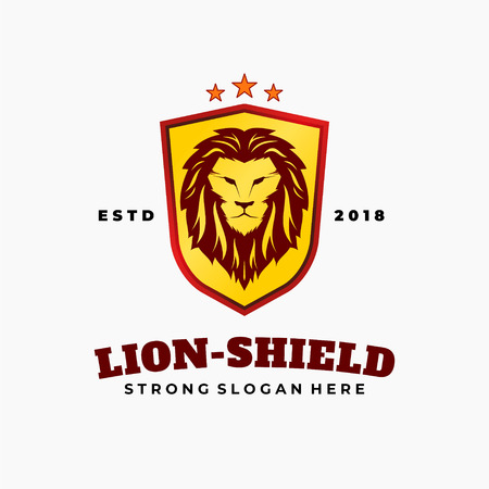 Lion head with crown and shield icon, royal cat profile. Golden luxury emblem. Vector illustration.