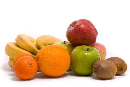 comiendo platano: Frutas coloridas sobre un fondo blanco  Foto de archivo
