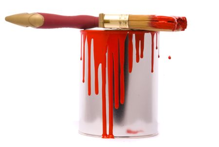 Can of red paint and professional brush on a white. photo