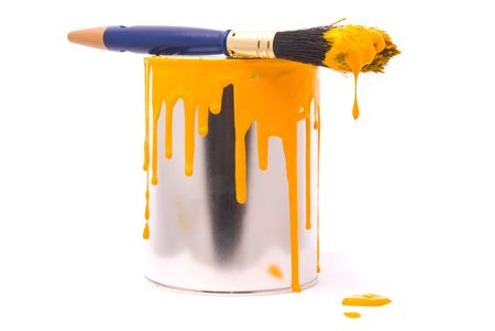 paint can: Can of yellow paint and professional brush on a white