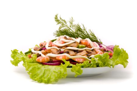 Salad from shrimps with field mushrooms, apples and cucumbers. photo