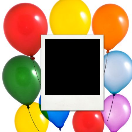 Multicolored balloons and photo frame on white background Stock Photo - 7478238
