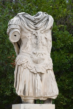 hadrian: Statue of the Emperor Hadrian at the Ancient Agora of Athens Stock Photo