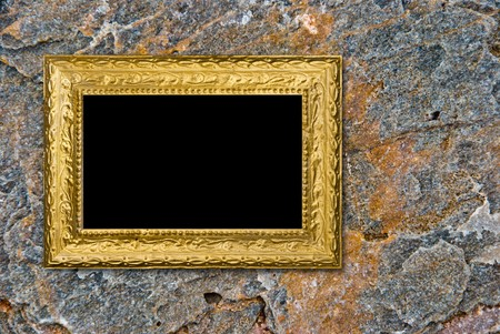 Stone background with vintage gold frame Stock Photo - 7479294