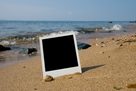 Photo card on sand beach photo
