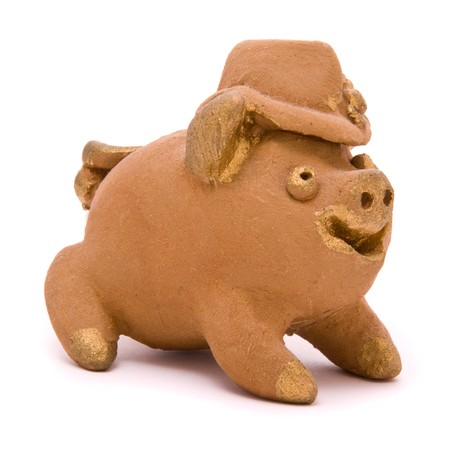 Toy pig isolated on white background photo