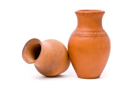 antique vase: Jugs on white background