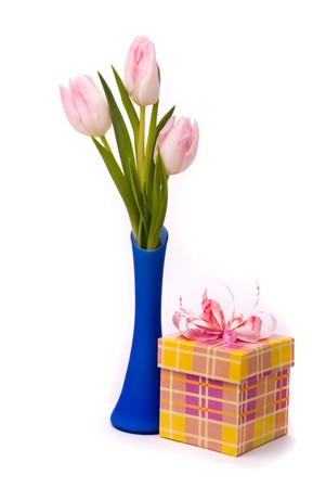 Pink tulips ang gift box on a white background photo
