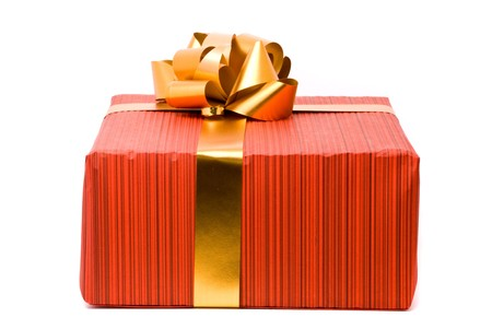 Red gift box with golden bow on a white background Stock Photo