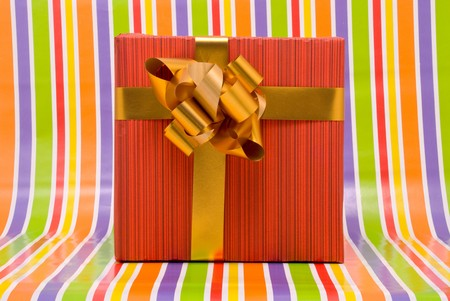 Gift box on a stripe background photo