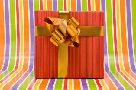 Gift box on a stripe background Stock Photo - 7478851