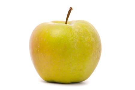 Green ripe apple isolated on white background photo