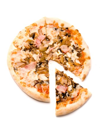 Pizza with pork and a hen, golden onions, mushrooms photo