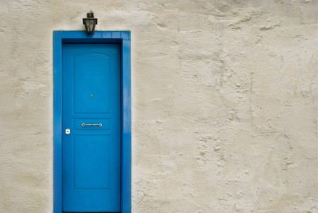 Blue Greek door photo