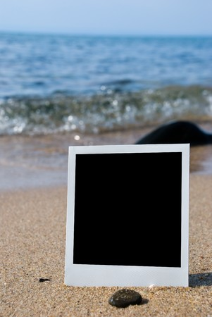 Photo card on sand beach photo