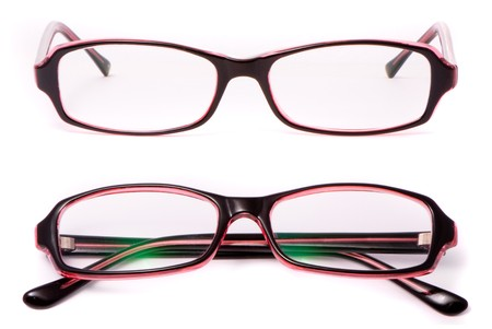 Modern spectacles isolated on white background photo