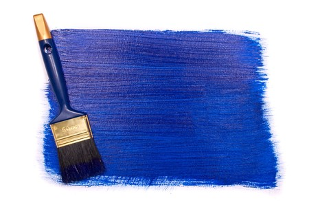 Professional brush with blue paint on a white background Stock Photo - 7648771
