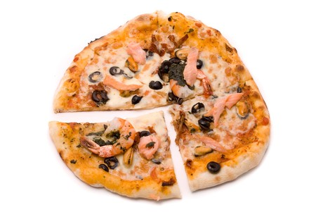 Pizza with cheese, sauce a mafia, a cream from artichokes, shrimps, mussels, olives, sauce of Pesto, tomatoes dried and a salmon smoked Stock Photo - 7648751