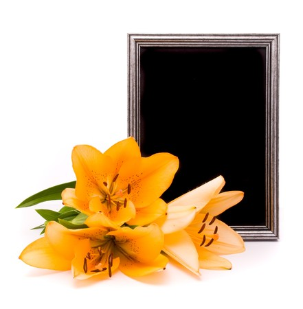 Yellow lilies and silver frame on a white background  photo