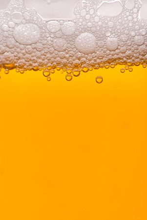 Close up of beer bubbles photo