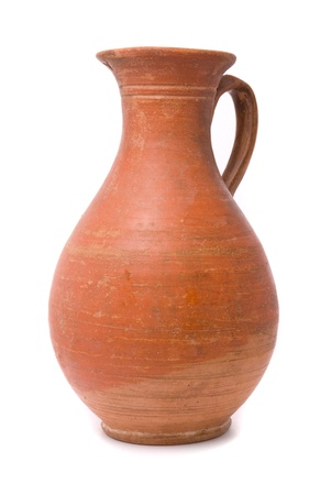 clay pot: Jug on white background