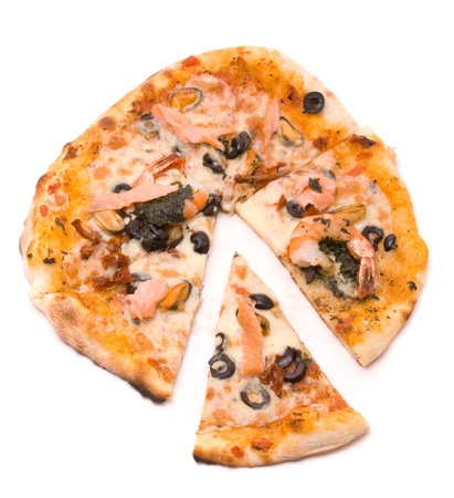Pizza with cheese, sauce a mafia, a cream from artichokes, shrimps, mussels, olives, sauce of Pesto, tomatoes dried and a salmon smoked photo