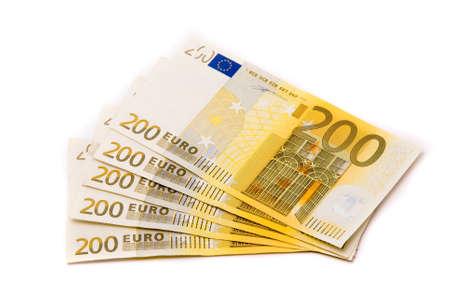 Euro banknotes isolated on white background photo