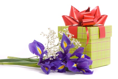 Bouquet of a irises and gift box on white background photo