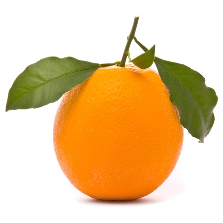 Fresh orange isolated on a studio white background.