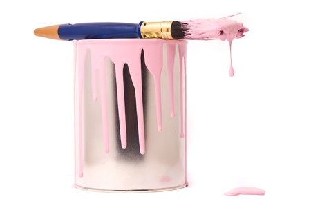 Can of pink paint and professional brush on a white Stock Photo - 9007978
