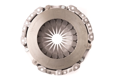 clutch: Car engine clutch. Isolated on white background.