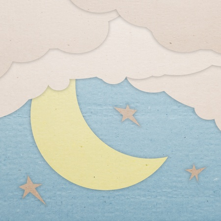 The night sky with the moon. Applique made of cardboard. Stock Photo - 10901985