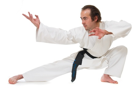 karate fighter: Karate fighter on white background Stock Photo